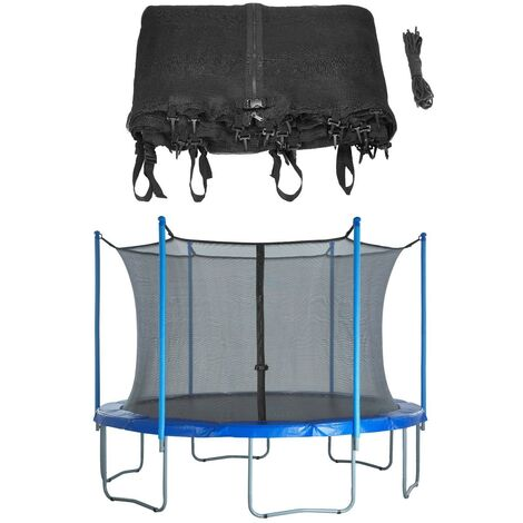 8ft Trampoline Replacement Enclosure Surround Safety Net | Protective Inside Netting with Adjustable Straps | Compatible with 4 Straight Poles or 2 Arches