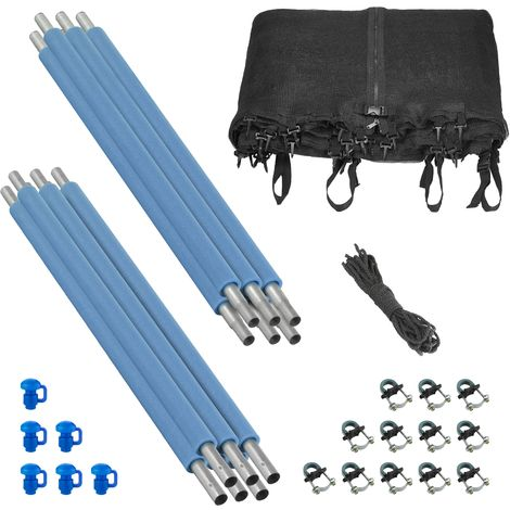 8ft Trampoline Safety Enclosure Set with 6 Poles, Safety Net, Foam Sleeves, Pole Caps, Clamps   Compatible with Round Frames   Installs Inside Frame