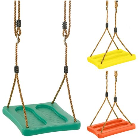 Swingan Kids Stand Up Foot Swing Seat & Adjustable Ropes | Playground Sets & Accessories for Children | Fully Assembled - Yellow