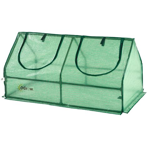 Ogrow Mini Polytunnel Cloche Greenhouse for Garden - Small Compact Outdoor Cold Frame Greenhouse | Green Polyethilene Plastic Cover