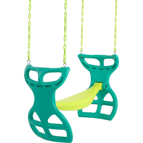 Swingan Glider Swing Seat - Two Kids Seater | Playground Sets & Accessories for Children | Fully Assembled - Green & Yellow