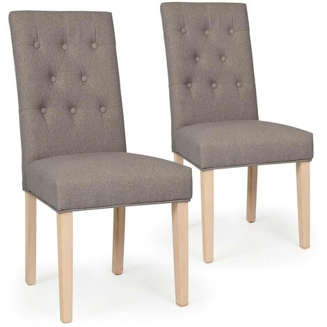 Lot de 2 chaises Costel Tissu Taupe - Taupe