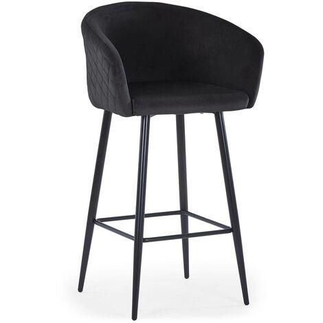 Chaise de bar Bobby Velours Noir - Noir