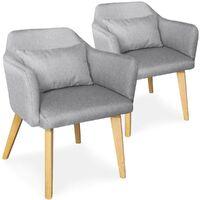 Lot de 2 chaises / fauteuils scandinaves Shaggy Tissu Gris clair - Gris clair