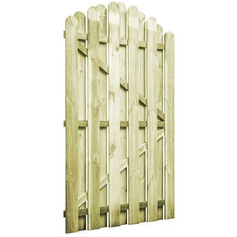 vidaXL Puerta de jardin madera de pino impregnada 100x150 cm arqueada