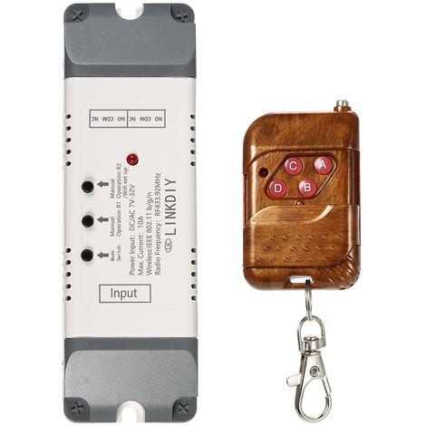 Modulo de interruptor de control remoto inalambrico universal, 2 canales, DC / AC7-32V