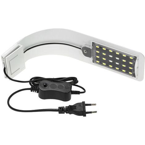Luz LED para acuario de 10 vatios, lampara de iluminacion con clip, 24 LED, BLANCO