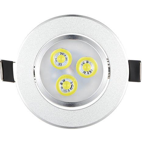 Lampara de empotrar empotrable de techo LED plateada, blanco calido