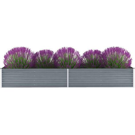 Jardinera de jardin de acero galvanizado 320x80x45 cm gris