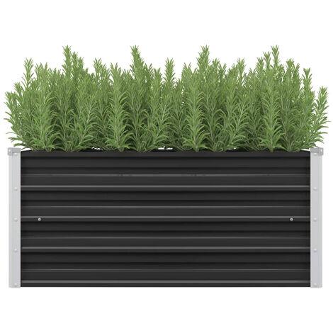 Jardinera de acero galvanizado gris antracita 100x40x45 cm