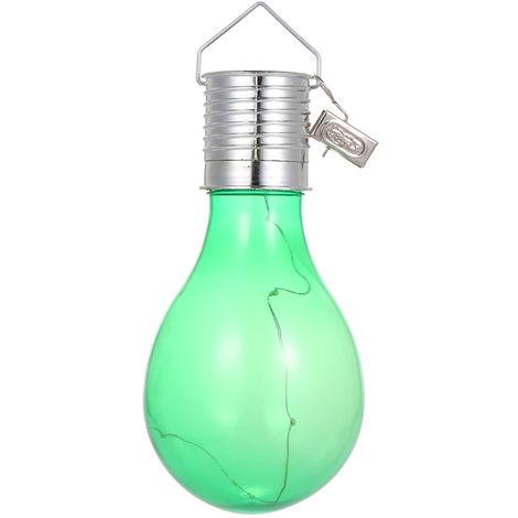 Bombilla de luz solar, Lampara colgante LED,5 luces, blanco calido, carcasa verde