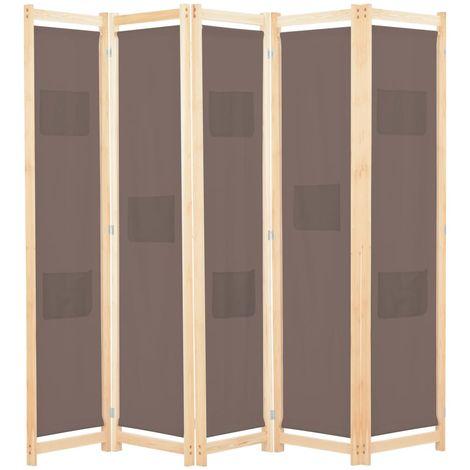 Biombo divisor de 5 paneles de tela marron 200x170x4 cm