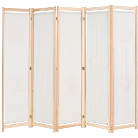 Biombo divisor 5 paneles de tela crema 200x170x4 cm