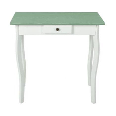 Mesa consola de MDF blanca y verde gris¨¢ceo