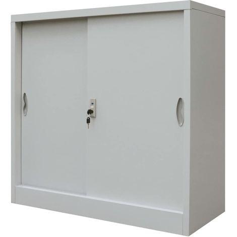 Armario oficina con puertas correderas metal gris 90x40x90 cm