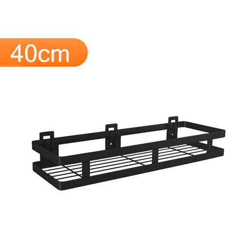 Acero inoxidable de unas libres de almacenamiento estante de la pared Negro flotante estante estante de especia, 40cm