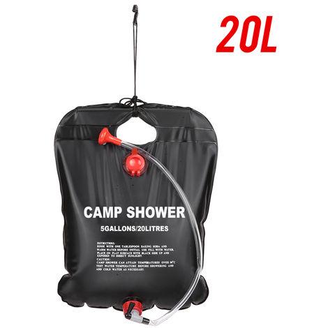 Ducha exterior Bano Bolsa portatil con calefaccion solar bolsa de ducha Viajar Senderismo Escalada de limpieza para mascotas, 20L, color al azar