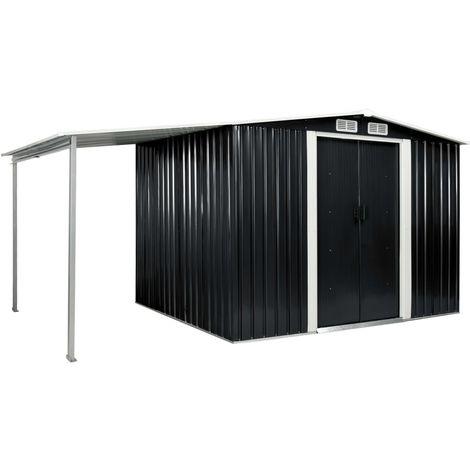 Cobertizo jardin puertas correderas acero gris 386x205x178 cm