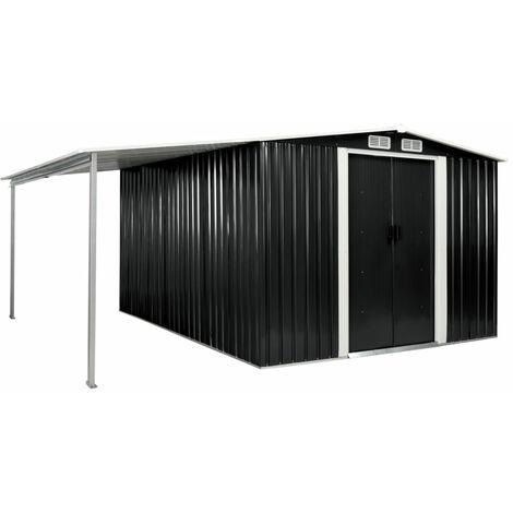 Cobertizo jardin puertas correderas acero gris 386x312x178 cm