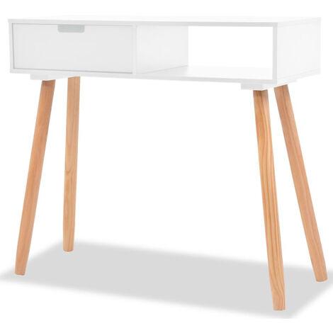Mesa consola de madera maciza de pino blanca 80x30x72 cm