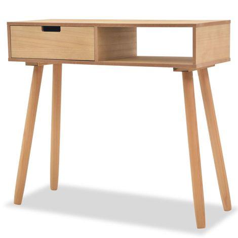 Mesa consola de madera maciza de pino 80x30x72 cm marron