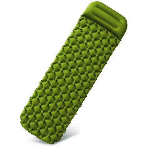 Colchoneta inflable para dormir cojin del amortiguador de humedad del aire del colchon sofa cama al aire libre Beach colchon con almohada, verde del ejercito