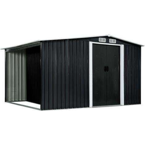 Cobertizo jardin puertas correderas acero gris 329,5x131x178 cm