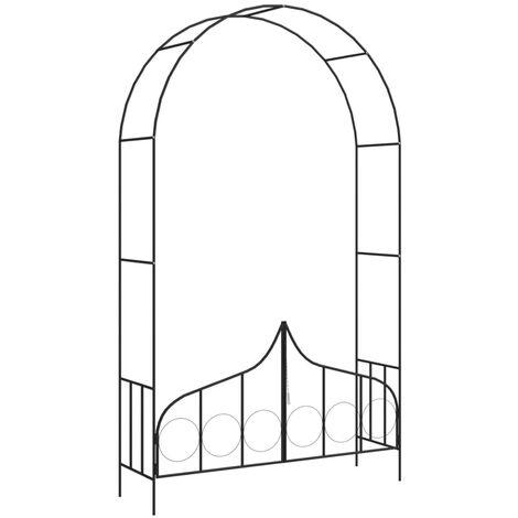 Arco de jardin con puerta hierro negro 138x40x238 cm