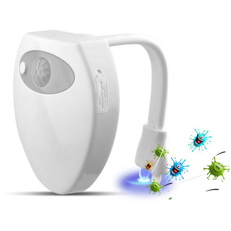 Aseo luz de la noche del USB 16 del sensor de movimiento inteligente del color de carga con UV germicida Funcion bano de agua llevo la lampara