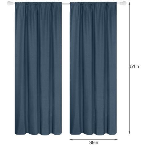 Panel 2 semi cortinas opacas cortinas de la sala moderna oscurecimiento aislada termal Diseno Ventana Ojal, 39 * 51in, azul oscuro, 39W X 51L en