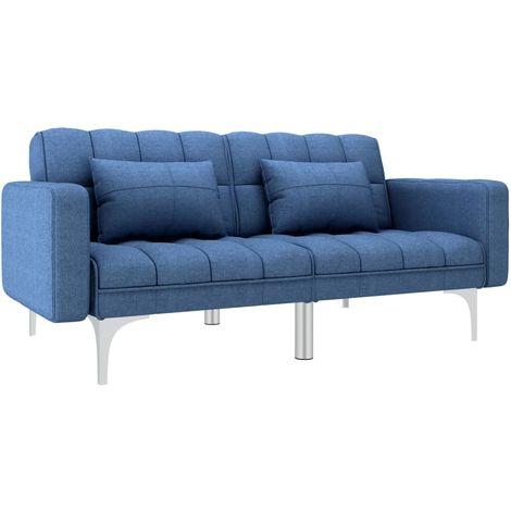 Sofa cama de tela azul
