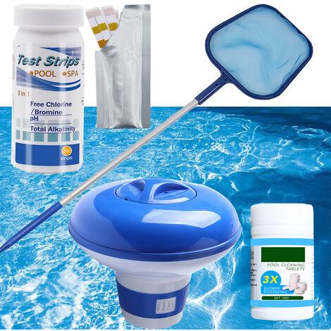 Kit de Limpieza Accesorios Piscina estanque de jardin tiras reactivas Spa Inicio flotante dispensador de tabletas, tabletas efervescentes con papel de prueba + + red de pesca