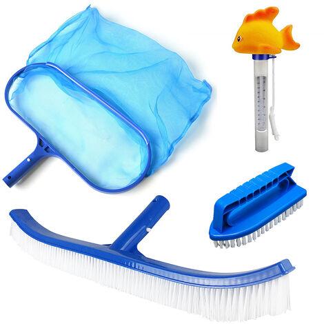 4 PC Mantenimiento de Piscinas Kit de Limpieza Accesorios para herramientas con el cepillo Termometro y limpieza de redes Accesorios para Piscinas Mantenimiento