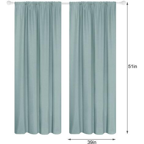 Panel 2 semi cortinas opacas cortinas de la sala moderna oscurecimiento aislada termal Diseno Ventana Ojal, 39 * 51in, verde claro