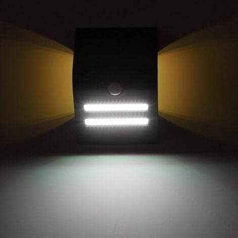 Lampara solar de deteccion de movimiento de pared, IP65, tres modos de iluminacion, cascara negro, luz calida atmosfera blanco