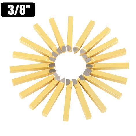 20pcs 3/8 pulgadas de metal herramienta cortante de torno herramientas de carburo punta con punta de broca de corte Conjunto de alta dureza Torneado Fresado Soldadura Bit, oro, grandes