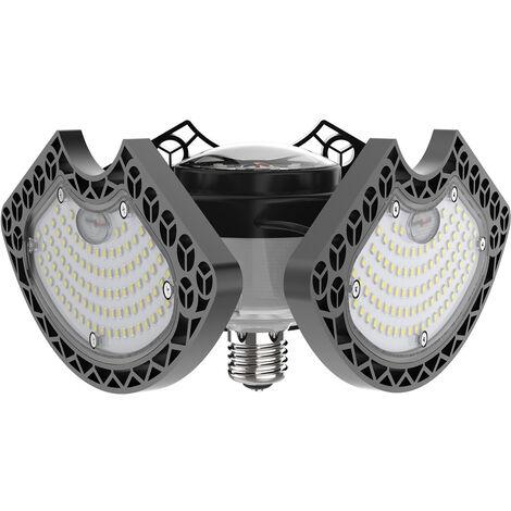 Techo LED 50W Luces de garaje deformable luces LED 6000LM LED Lampara CRI80 con 3 paneles ajustables E27 para Garaje Taller Almacen de iluminacion, Blanco y Negro, 50W-E27