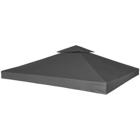 Cubierta de repuesto de cenador 310 g/m2 gris oscuro 3x3 m