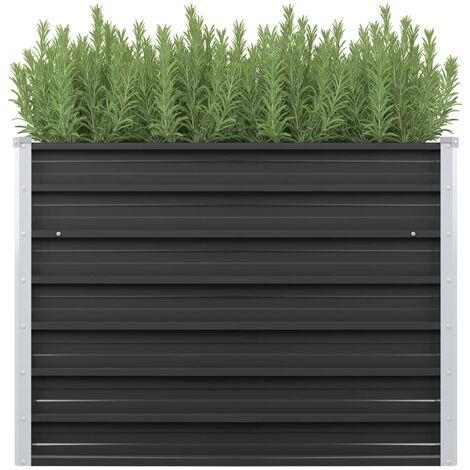 Jardinera de acero galvanizado gris antracita 100x40x77 cm