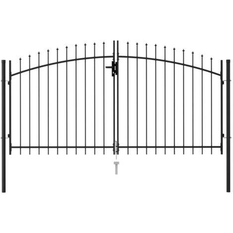 Cancela de valla doble puerta con puntas acero negro 3x1,5 m