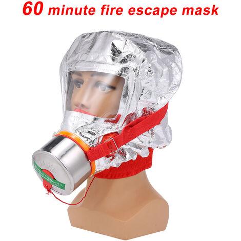 Fuego Eacape la mascarilla de la mascara de auto-rescate de proteccion respiratoria a partir de gas Cara cubrir emergencias personales de evacuacion de la campana, plata, 60 Minutos