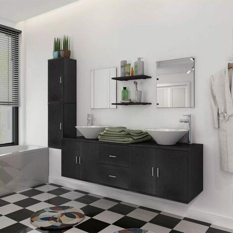 Set muebles para bano con lavabo y grifo 11 uds Negro