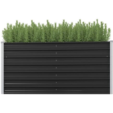 Jardinera de acero galvanizado gris antracita 160x40x77 cm