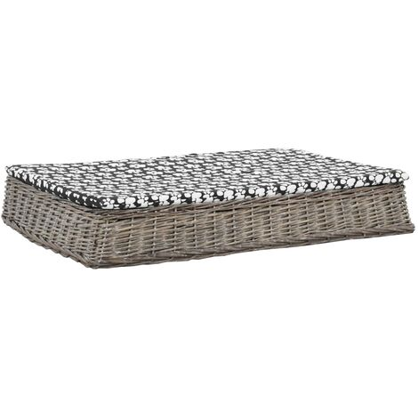Cama para perros y cojin plana sauce natural gris 110x75x15 cm