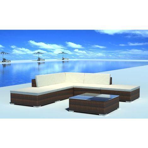 Set muebles de jardin 6 piezas y cojines ratan sintetico marron(no se puede enviar a Baleares)