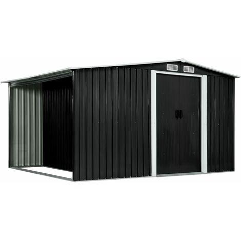 Cobertizo jardin puertas correderas acero gris 329,5x205x178 cm (no se puede enviar a Baleares)