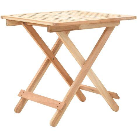 Mesa auxiliar plegable de madera maciza de nogal 50x50x49 cm
