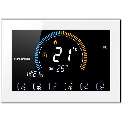 95-240V termostato programable 5 + 1 + 1 seis periodos pantalla tactil LCD con luz de fondo de agua de calefaccion Termorregulador bloqueo de funcion de ¡æ / ¨H conmutable, Blanco, no wifi