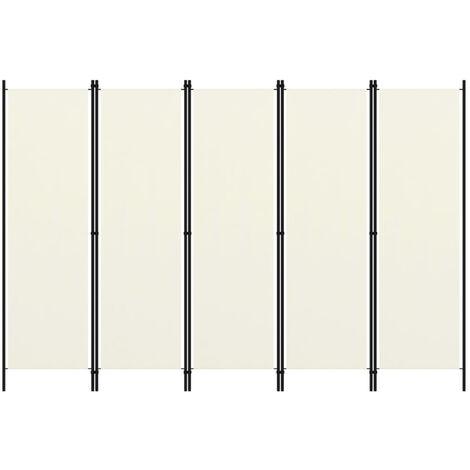Biombo divisor de 5 paneles blanco 250x180 cm