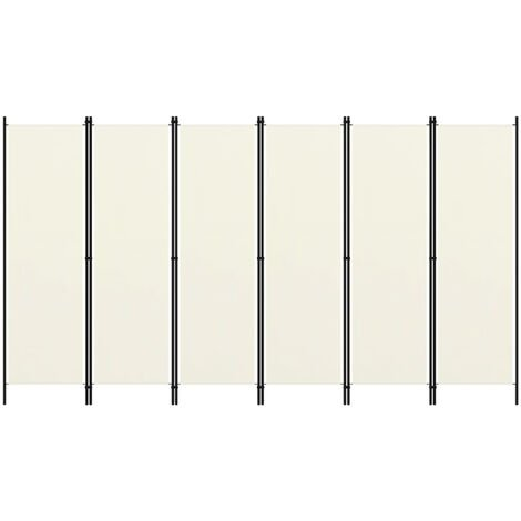Biombo divisor de 6 paneles blanco 300x180 cm
